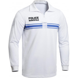 Polo Police Municipale P.M. ONE manches longues blanc