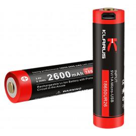 Batterie rechargeable prise micro USB pour lampe AR10/FX10/RS11/ST15/XT11/XT2C